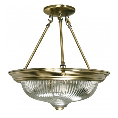 "3-Light 15"" Semi-Flush Mount Ceiling Light Fixture, Antique Brass"