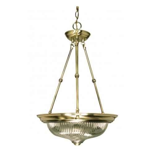 "3-Light 15"" Small Hanging Pendant Light Fixture, Antique Brass"