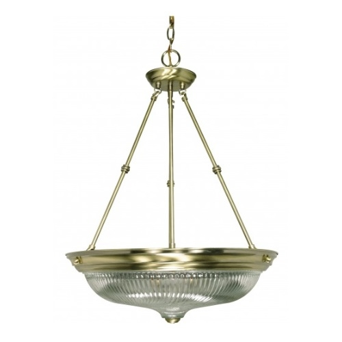 "3-Light 20"" Large Hanging Pendant Light Fixture, Antique Brass"