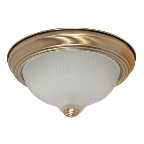 """2-Light 11"""" Flush Mount Light Fixture, Antique Brass"""