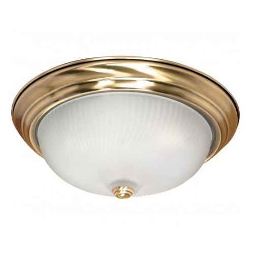 "3-Light 15"" Flush Mount Light Fixture, Antique Brass"