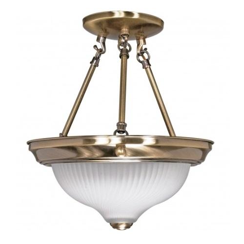 """2-Light 11"""" Semi-Flush Mount Light Fixture, Antique Brass"""