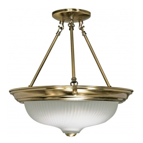"3-Light 15"" Semi-Flush Mount Light Fixture, Antique Brass"
