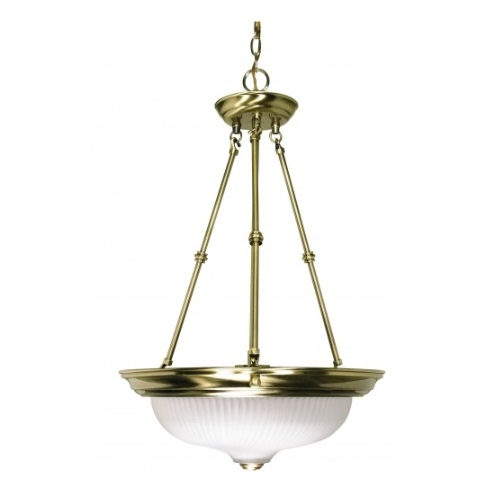 "3-Light 15"" Hanging Pendant Light Fixture, Antique Brass"