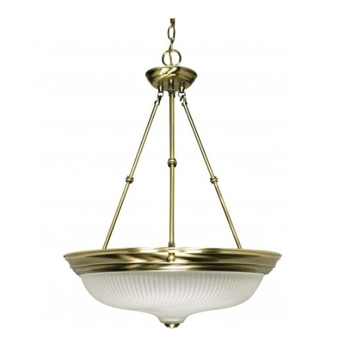"3-Light 20"" Hanging Pendant Light Fixture, Antique Brass"