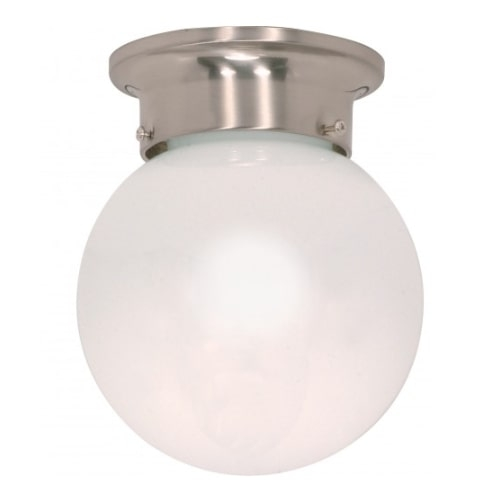 "6"" Ball Ceiling Light Fixture, Brushed Nickel, White Glass"