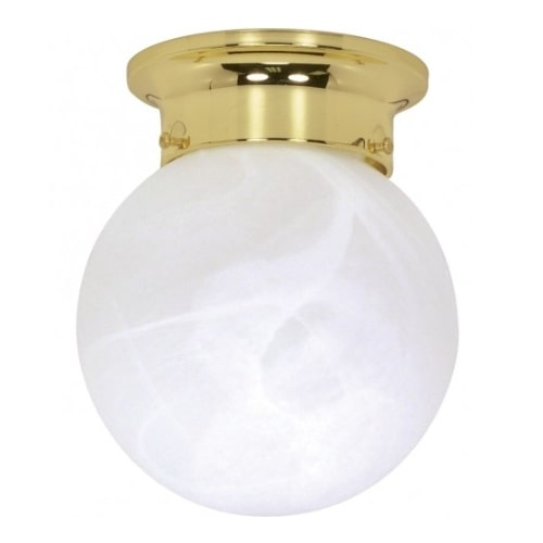 "6"" Ball Ceiling Light Fixture, Polished Brass, Alabaster Glass"