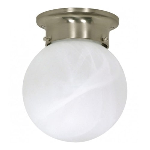 "6"" Ball Ceiling Light Fixture, Brushed Nickel, Alabaster Glass"