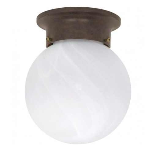 "6"" Ball Ceiling Light Fixture, Old Bronze, Alabaster Glass"