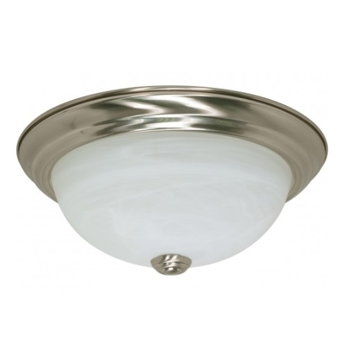 "13W 11"" Flush Mount Ceiling Fixture, Brushed Nickel, Alabaster Glass"