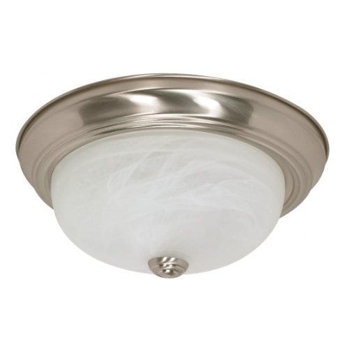 "13W 13"" Flush Mount Ceiling Fixture, Brushed Nickel, Alabaster Glass"