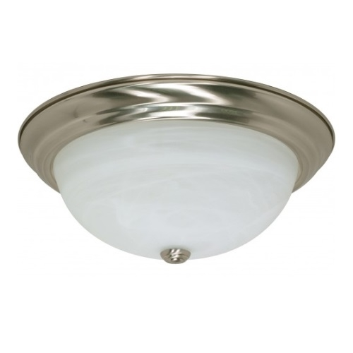 "13W 15"" Flush Mount Ceiling Fixture, Brushed Nickel, Alabaster Glass"
