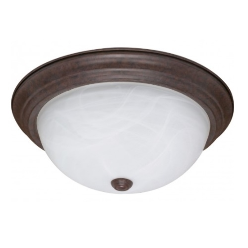 "13W 15"" Flush Mount Ceiling Fixture, Old Bronze, Alabaster Glass"