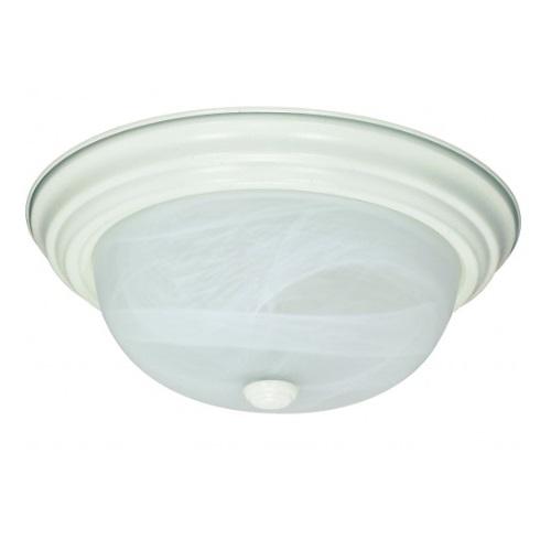 "13W 11"" Flush Mount Fixture, Textured White, Alabaster Mushroom Glass"