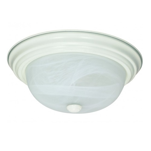 "13W 13"" Flush Mount Fixture, Textured White, Alabaster Mushroom Glass"