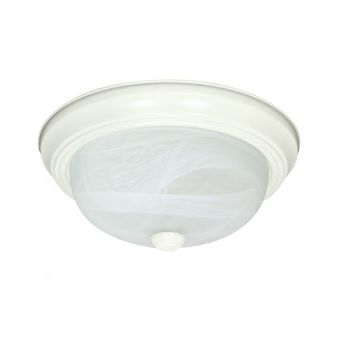 "13W 15"" Flush Mount Fixture, Textured White, Alabaster Mushroom Glass"