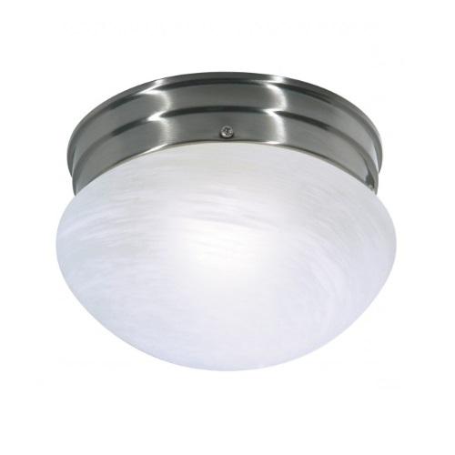 Small Flush Mount Light Fixture, Brushed Nickel, Alabaster Mushroom Glass