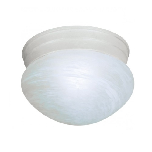 Small Flush Mount Light Fixture, Textured White, Alabaster Mushroom Glass