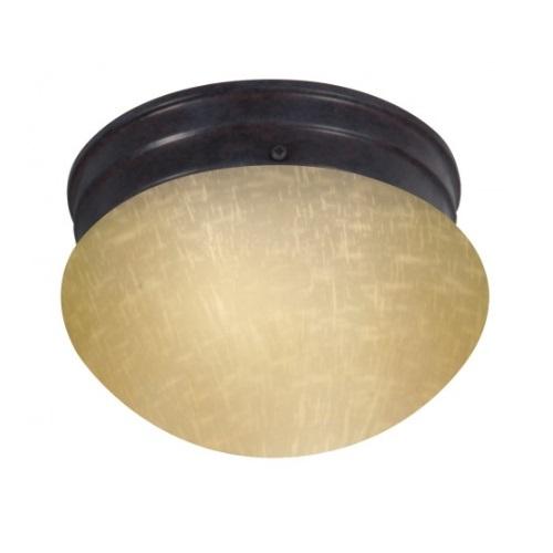"6"" Flush Mount Light Fixture, Mahogany Bronze, Champagne Linen Glass"