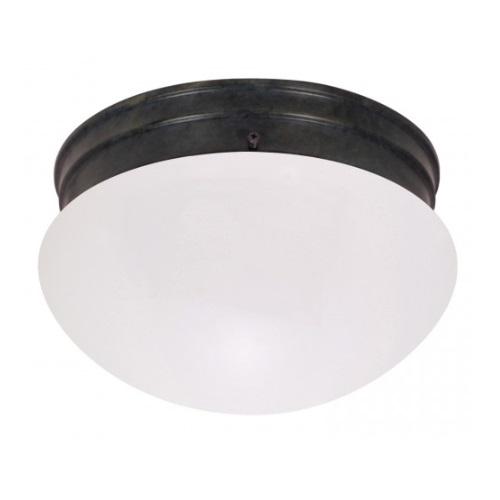 "2-Light 8"" Flush Mount Light Fixture, Mahogany Bronze, Frosted Glass"