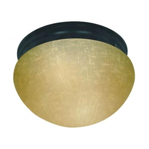 """2-Light 10"""" Flush Mount Light, Mahogany Bronze, Champagne Linen Glass"""
