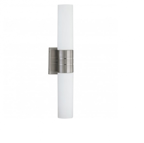 Link Wall Sconce Light, Vertical Tube, 2-light, Brushed Nickel