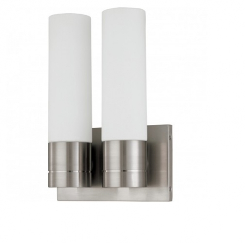 Link Wall Sconce Light, Twin Tube, 2-light, Brushed Nickel