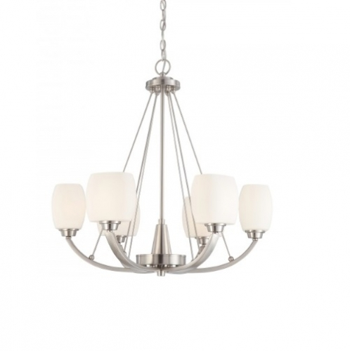 60W Helium Chandelier Light, 6-Light, Brushed Nickel