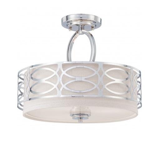 Harlow Semi Flush Light Fixture, Gray Fabric Shade