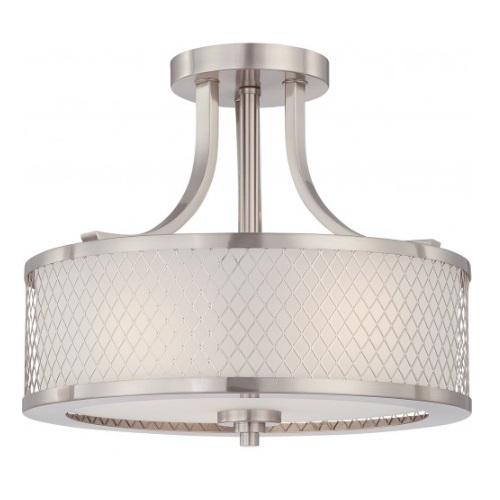 60W Semi-Flush Mount Ceiling Light, Brushed Nickel
