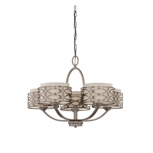 Nuvo Harlow Chandelier Light Khaki Fabric Shades
