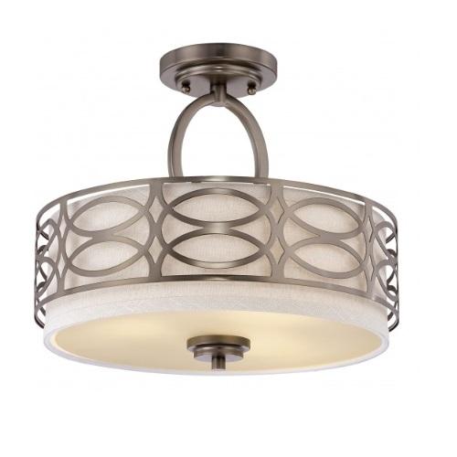 Harlow Semi Flush Light Fixture, Khaki Fabric Shade