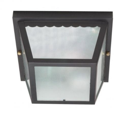 Nuvo 10in Carport Flush Mount Fixture Metal Frame Black