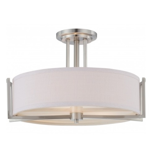 60W 3-Light Semi-Flush Mount Ceiling Light, 120V, Brushed Nickel