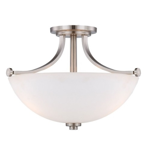 60W 3-Light Semi-Flush Mount Ceiling Light, Brushed Nickel
