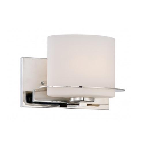 Loren Vanity Light Fixture, Polished Nickel, Etched Opal Glass