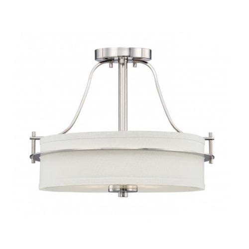 Loren Semi-Flush Mount Ceiling Light, Polished Nickel, White Linen Glass