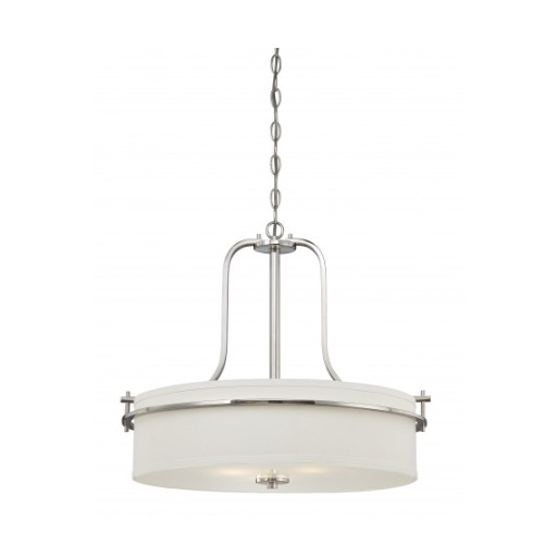 Loren Drum Pendant Light Fixture, Polished Nickel, White Linen Glass