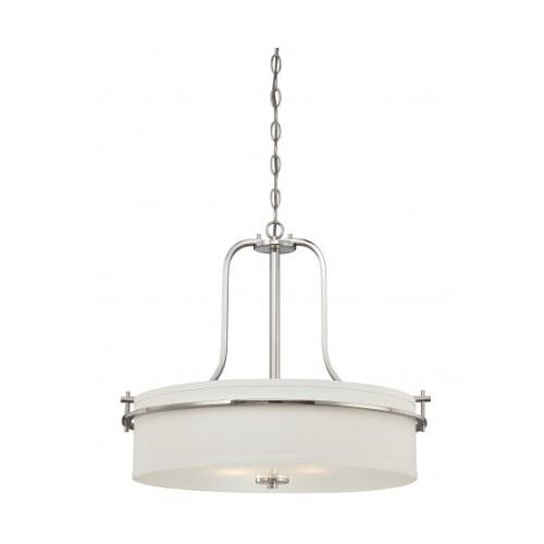 Nuvo Loren Drum Pendant Light Fixture Polished Nickel White Linen Glass