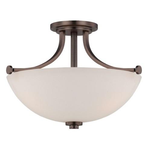 60W 3-Light Semi-Flush Mount Ceiling Light, 120V, Hazel Bronze