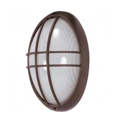 Nuvo 13in Bulk Head Light Large Oval Cage Architectural Bronze