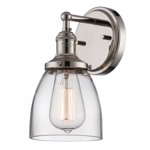 """100W Vintage 5.125"""" Wide Wall Sconce, Clear Glass Shade, Polished Nickel"""