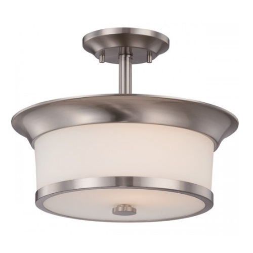 Mobili Semi-Flush Mount Ceiling Light, Brushed Nickel, Satin White Glass
