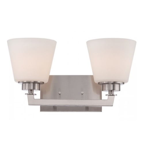 Mobili 2-Light Vanity Light Fixture, Brushed Nickel, Satin White Glass