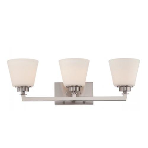 Mobili 3-Light Vanity Light Fixture, Brushed Nickel, Satin White Glass