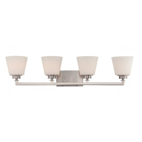 Mobili 4-Light Vanity Light Fixture, Brushed Nickel, Satin White Glass