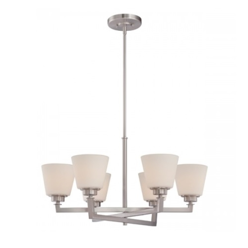 Mobili 6-Light Chandelier Fixture, Brushed Nickel, Satin White Glass