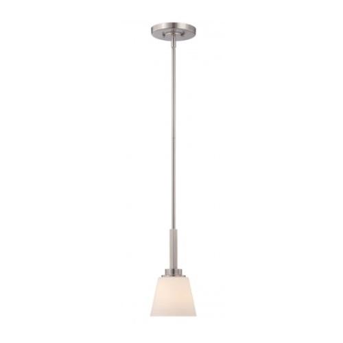 Mobili Mini Pendant Light Fixture, Brushed Nickel, Satin White Glass