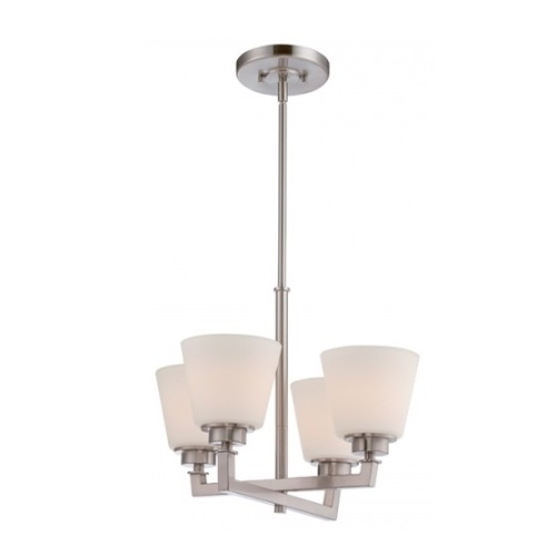 Mobili 4-Light Chandelier Fixture, Brushed Nickel, Satin White Glass