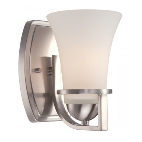 Neval Vanity Light Fixture, Brushed Nickel, Satin White Glass